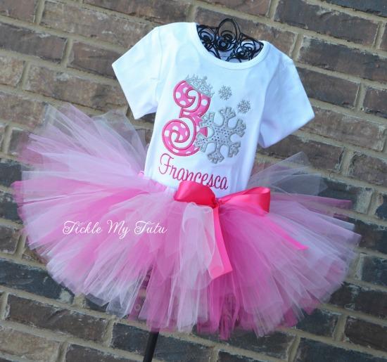 Snowflake Princess Birthday Tutu Outfit (Pink)