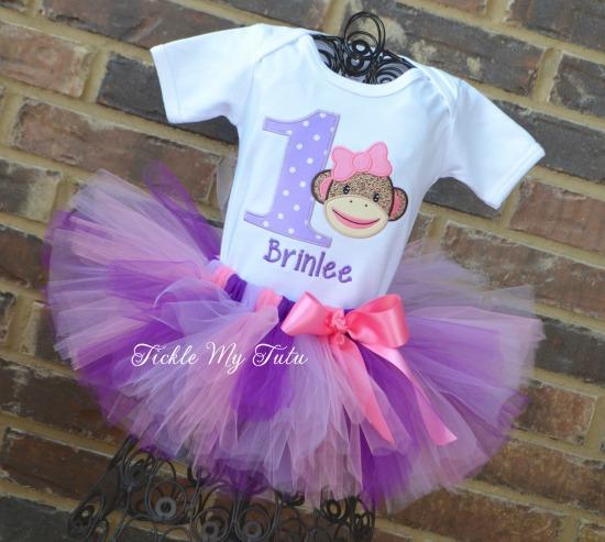 Sock Monkey Birthday Tutu Outfit