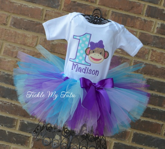 Sock Monkey Birthday Tutu Outfit (purple, lilac, turquoise, and aqua)