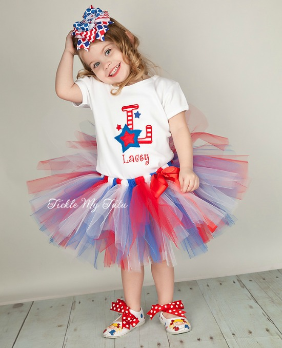 Fourth of July Stars and Stripes Initial Tutu Outfit