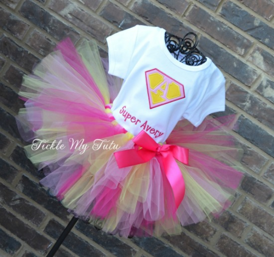 Supergirly Superhero Themed Birthday Tutu Outfit (Super Avery)