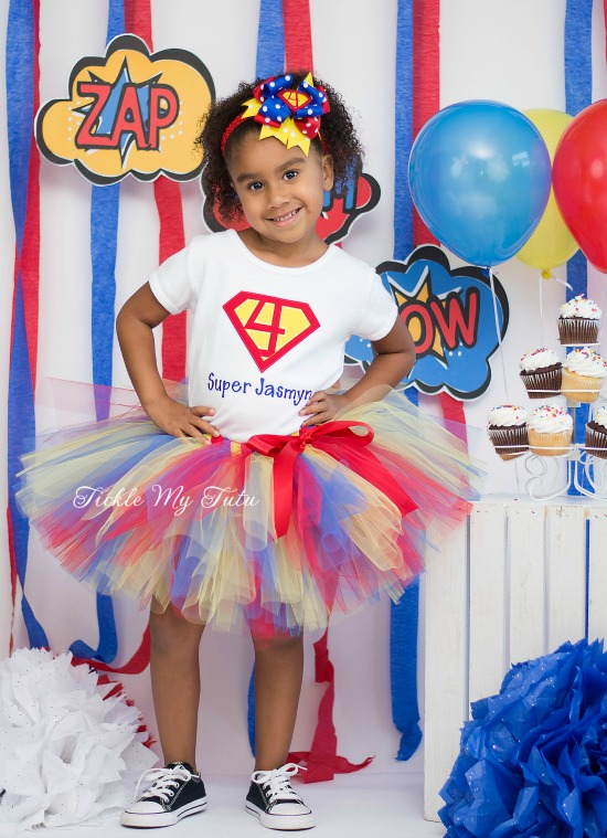 Supergirly Superhero Themed Birthday Tutu Outfit (Red, Blue, Yellow)