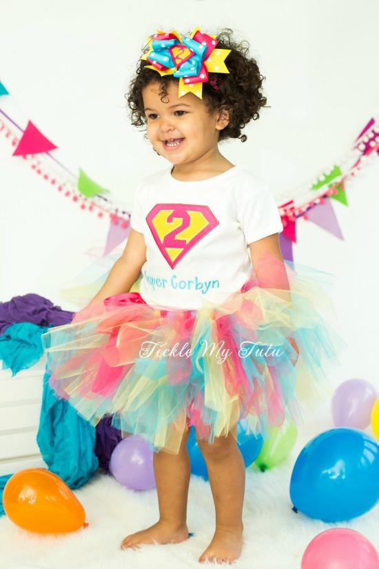 Supergirly Superhero Themed Birthday Tutu Outfit (Dark Pink, Turquoise, Yellow)