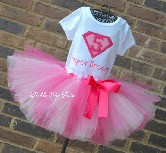 Supergirly Superhero Themed Birthday Tutu Outfit (Dark pink, pink, and light pink)