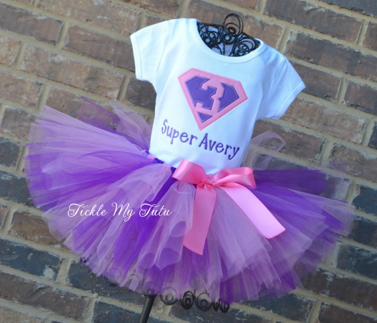 Supergirly Superhero Themed Birthday Tutu Outfit (Pink and Purple)