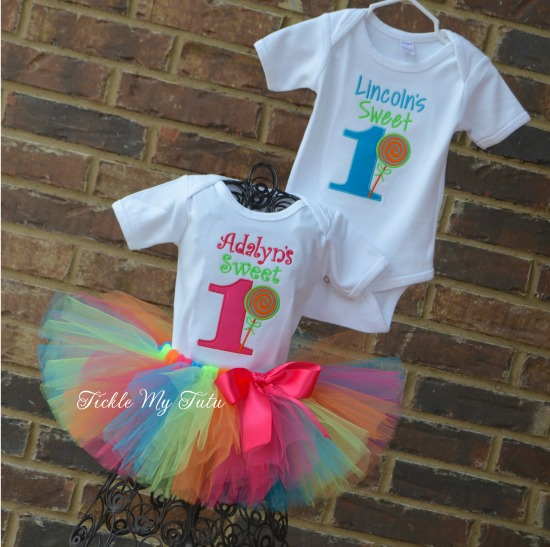 Boy/Girl Twin Sweet One Lollipop Themed Birthday Set