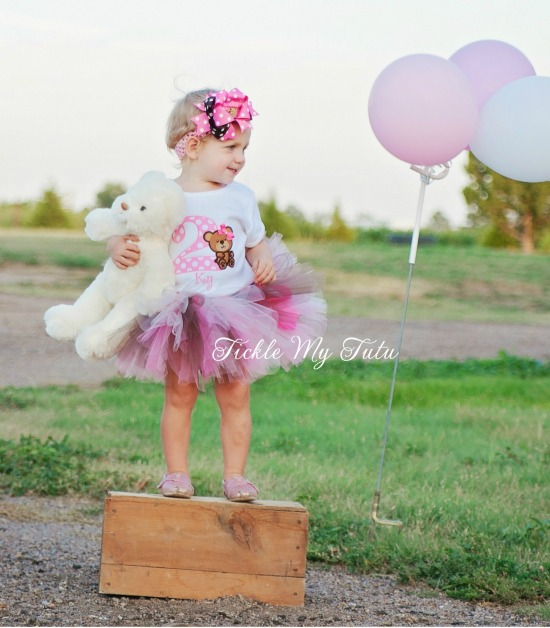Teddy Bear Birthday Tutu Outfit (Pink and Brown)
