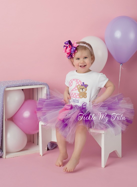 Teddy Bear Birthday Tutu Outfit (Pink and Purple)