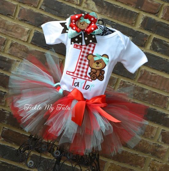 Teddy Bear Picnic Birthday Tutu Outfit