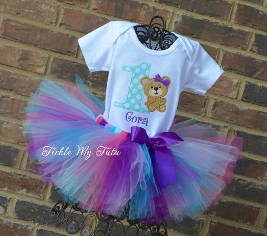 Teddy Bear Birthday Tutu Outfit (Purple, Aqua, and Dark Pink)