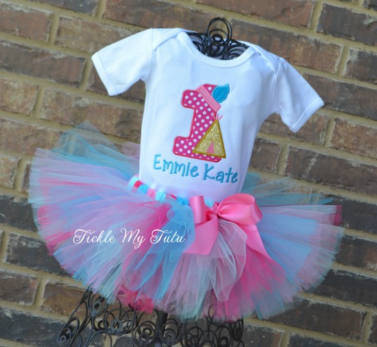 Teepee Birthday Tutu Outfit (Dark pink and turquoise)