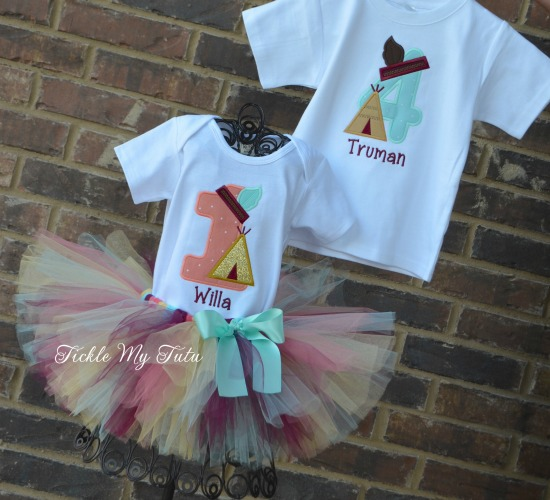 Boy/Girl Twin Teepee Birthday Tutu Set