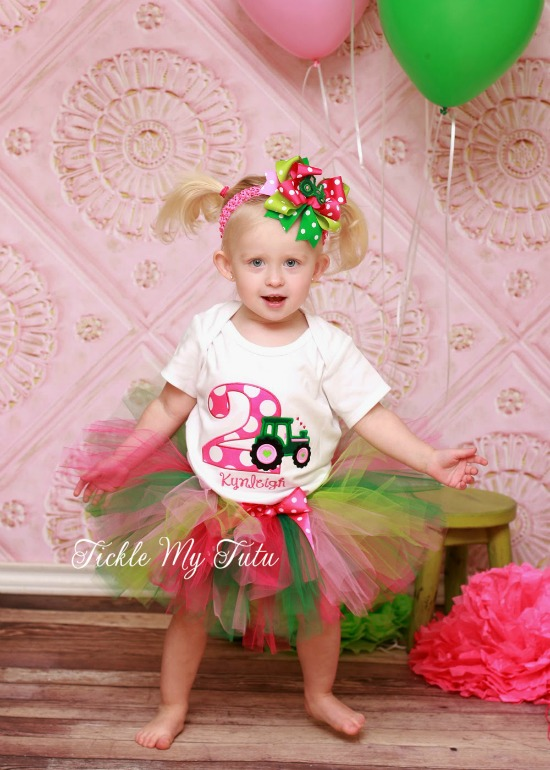 Girly Tractor Birthday Tutu Outfit
