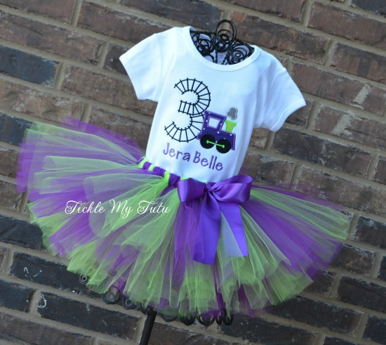 Birthday Train Tutu Outfit (purple and lime)