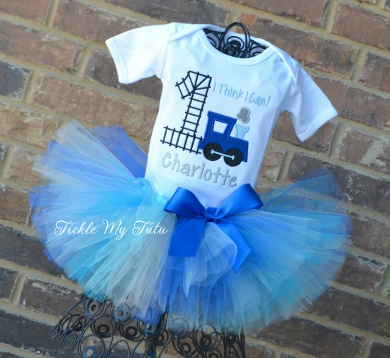 Birthday Train Tutu Outfit (blues and silver)