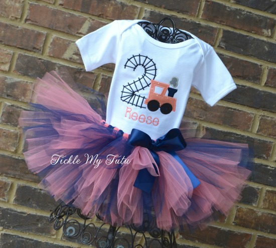 Birthday Train Tutu Outfit (coral and navy)