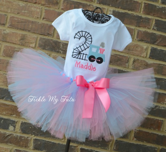 Birthday Train Tutu Outfit (pink and baby blue)