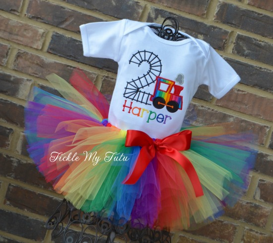Birthday Train Tutu Outfit (rainbow)