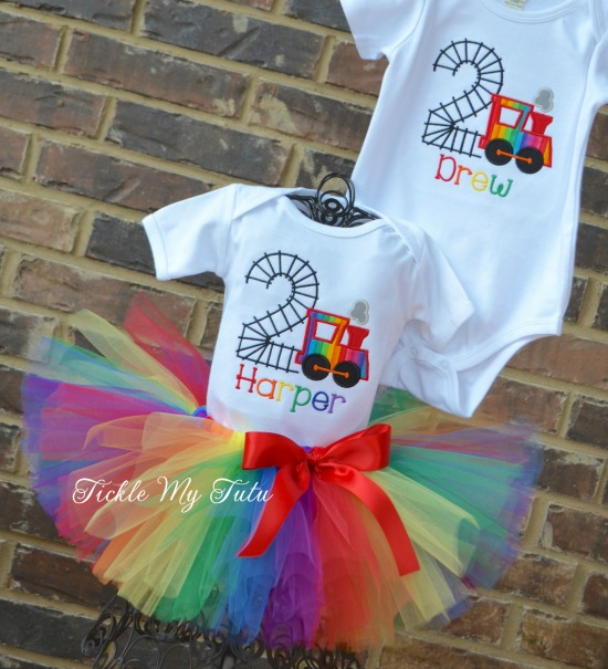 Boy/Girl Twin Train Birthday Tutu Set (Rainbow Colors)