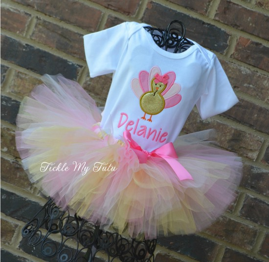Thanksgiving Turkey Tutu Outfit in Pink and Gold
