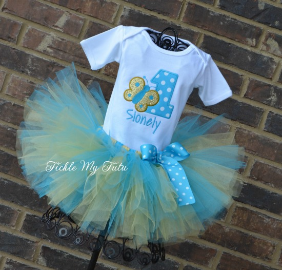Butterfly Themed (Turquoise and Gold) Birthday Tutu Outfit