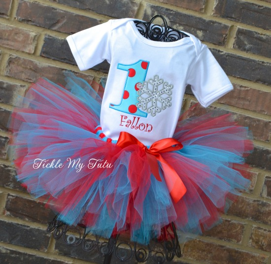 Winter ONEderland Turquoise and Red Snowflake Birthday Tutu Outfit