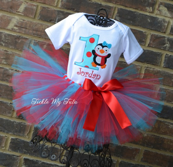 Turquoise and Red Penguin Themed Birthday Tutu Outfit