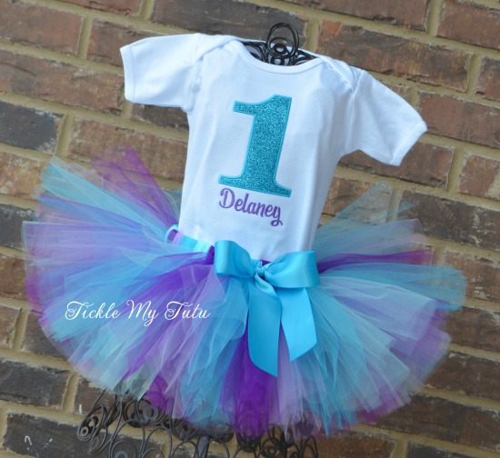 Turquoise Sparkle Number Birthday Tutu Outfit