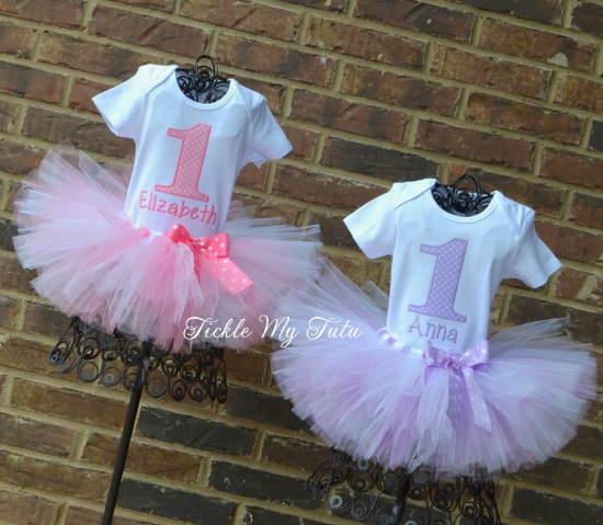 Twin Pink and Lilac Polka Dot Birthday Tutu Outfits (Elizabeth and Anna)