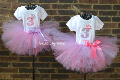 Twin Diva Princess Birthday Crown Tutu Set in Pink and Lilac