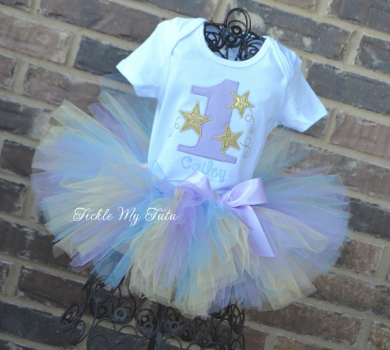 Twinkle Twinkle Little Star (Lilac, Baby Blue, and Gold) Birthday Tutu Outfit