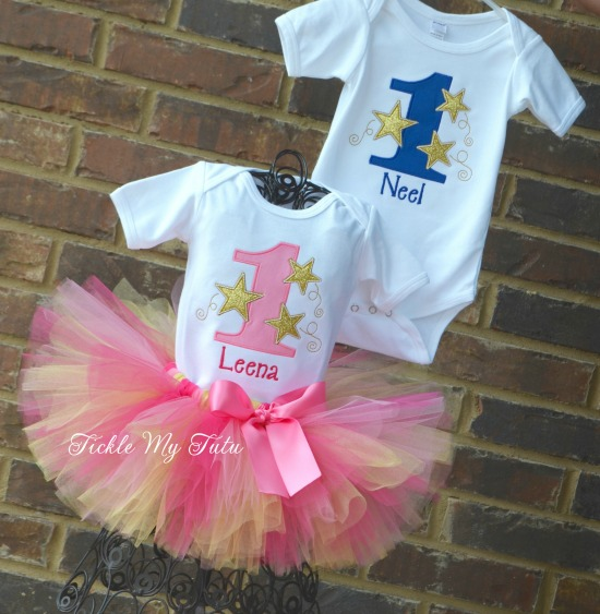 Boy/Girl Twin Twinkle Twinkle Little Star Themed Birthday Set