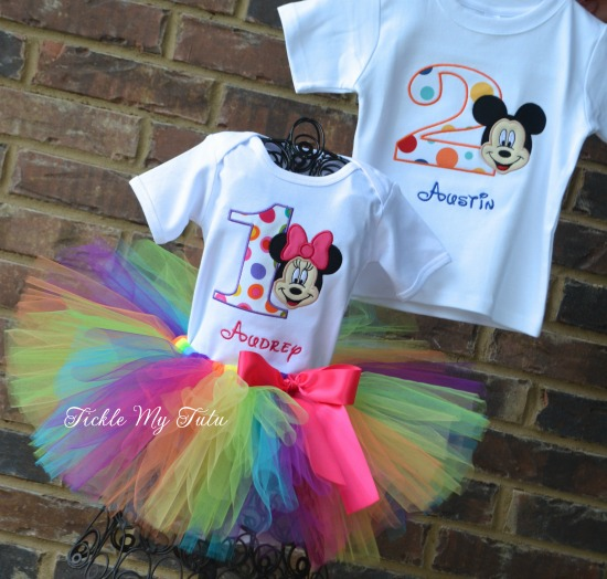 Boy/Girl Twin Mickey and Minnie Polka Dot Party Birthday Tutu Set