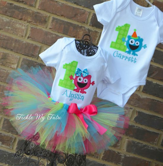Boy/Girl Twin Monster Mash Birthday Tutu Set