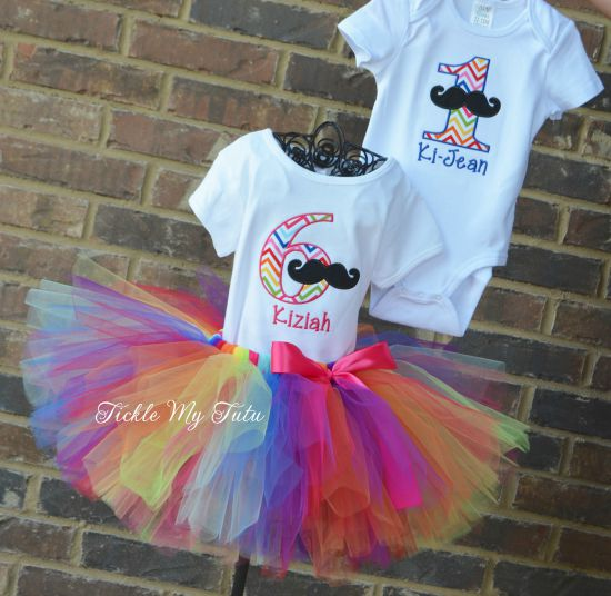 Boy/Girl Twin Mustache Bash Birthday Set in Rainbow Chevron Print