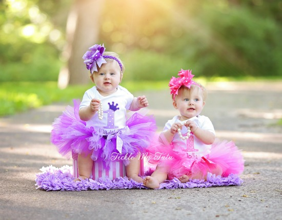 Twin Pink and Purple Passion Birthday Crown Tutu Outfits