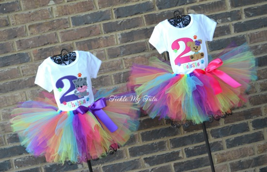 Twin Girls Kitty and Puppy PAW-ty Birthday Tutu Outfits