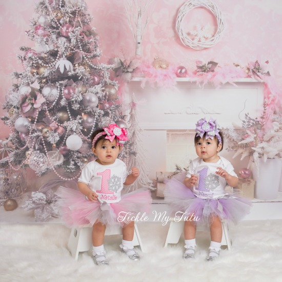 Winter ONEderland Snowflake Twin Girls' Birthday Tutu Outfit (Pink and Lilac)
