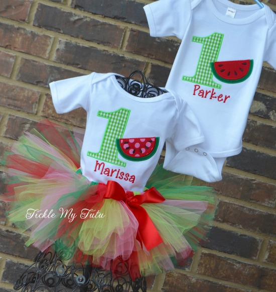 Boy/Girl Twin Watermelon Themed Birthday Set