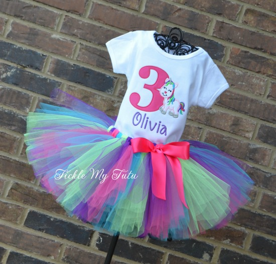 Unicorn Birthday Tutu Outfit (dark pink, turquoise, lime, and purple)