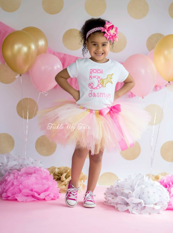 Pink and Gold Unicorn Birthday Tutu Outfit
