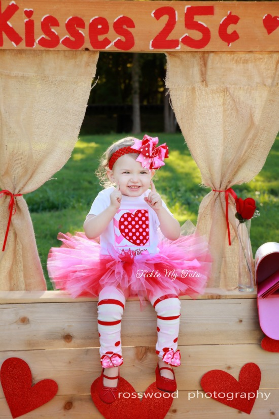 Valentine Chevron Box and Polka Dot Heart Valentine's Day Tutu Outfit