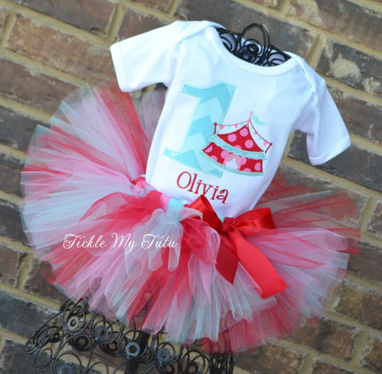 Under the Big Top Vintage Colors Circus Tent Birthday Tutu Outfit with Birthday Number
