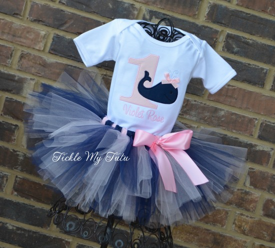 Whale Themed Birthday Tutu Outfit (Light Pink and Navy)