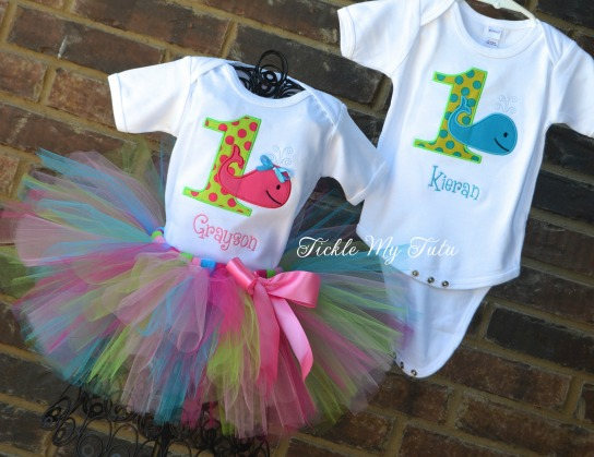 Boy/Girl Twin Whale Themed Birthday Tutu Set