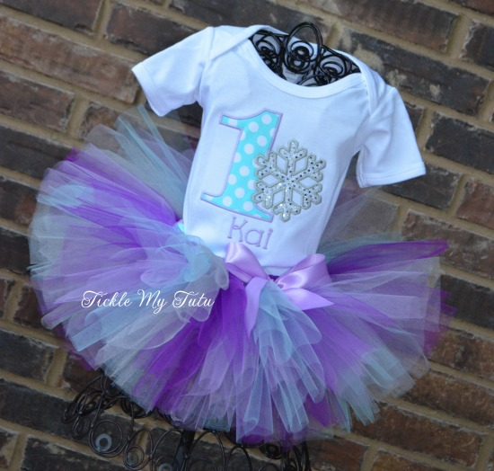 Winter ONEderland Aqua Dot, Lilac, and Purple Snowflake Birthday Tutu Outfit