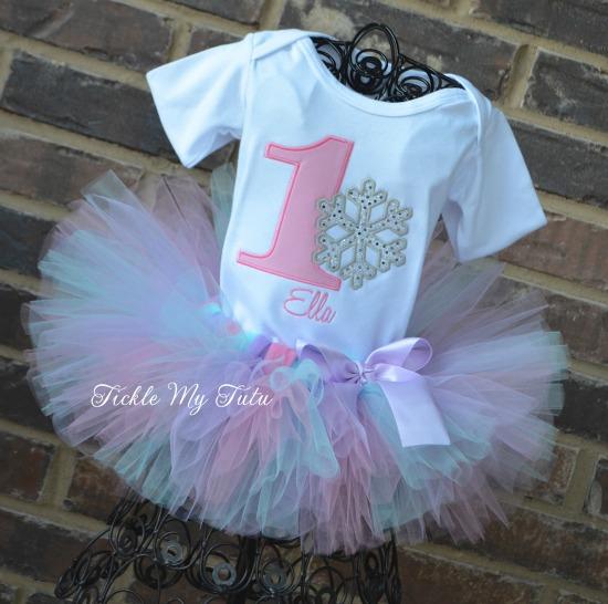 "Winter ONEderland Pink, Aqua, and Lilac ""Ella"" Snowflake Birthday Tutu Outfit"