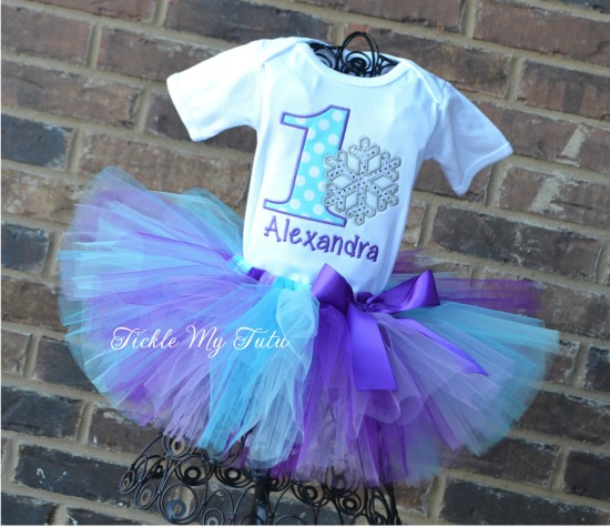 Winter ONEderland Purple, Lilac, Turquoise, and Aqua Snowflake Birthday Tutu Outfit (Alexandra)
