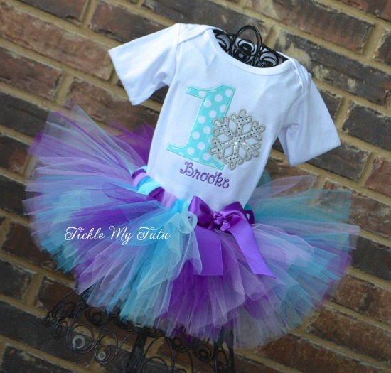 Winter ONEderland Purple, Lilac, Turquoise, and Aqua Snowflake Birthday Tutu Outfit