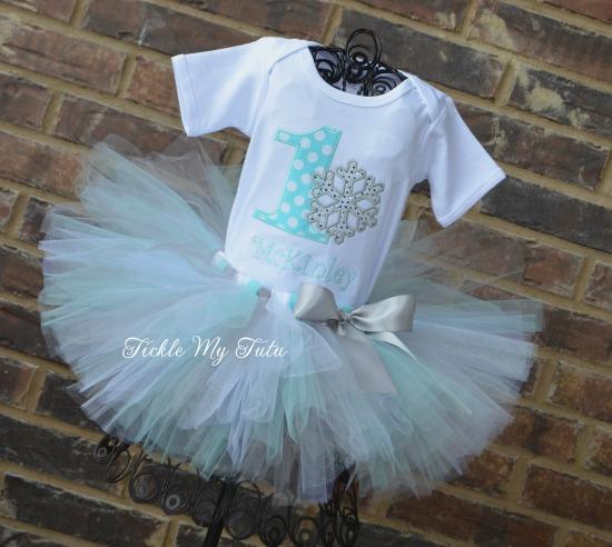 Winter ONEderland Aqua Snowflake Birthday Tutu Outfit